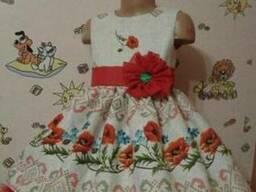 Платья детские и взрослые, маки, лён-рогожка - фото 2