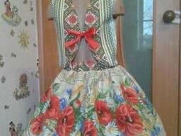 Платья детские и взрослые, маки, лён-рогожка - фото 5