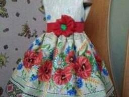 Платья детские и взрослые, маки, лён-рогожка - фото 1